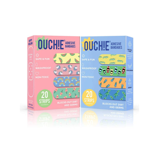 The Nestery : Ouchie By Aya Papaya - Non-Toxic Printed Bandages Double Combo 40 Pack - Pink & Blue