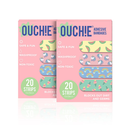 The Nestery : Ouchie By Aya Papaya - Non-Toxic Printed Bandages Double Combo 40 Pack - Pink
