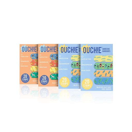 The Nestery : Ouchie By Aya Papaya - Non-Toxic Printed Bandages Quadruple 80 Pack (2 X Blue & 2 X Orange)