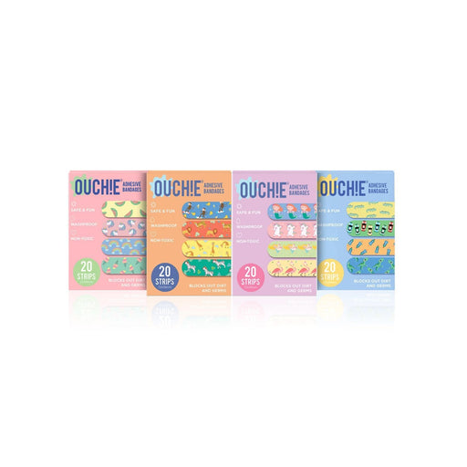 The Nestery : Ouchie By Aya Papaya - Non-Toxic Printed Bandages Quadruple 80 Pack (Pink, Orange, Lavender, Blue)