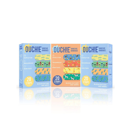 The Nestery : Ouchie By Aya Papaya - Non-Toxic Printed Bandages Triple Combo 60 Pack (1 X Orange, 2 X Blue)