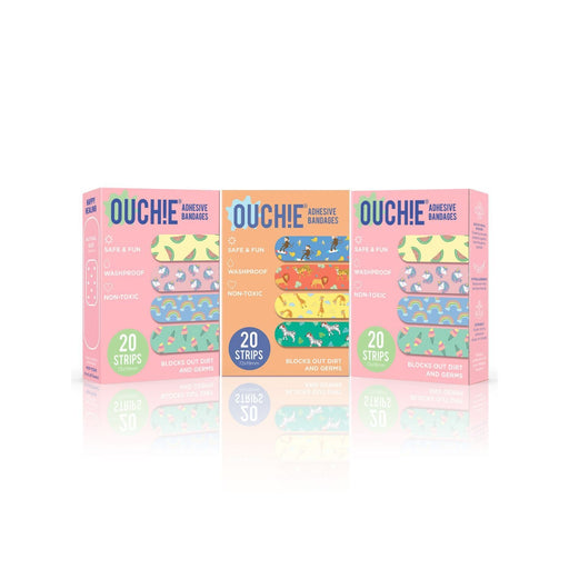 The Nestery : Ouchie By Aya Papaya - Non-Toxic Printed Bandages Triple Combo 60 Pack (1 X Orange, 2 X Pink)