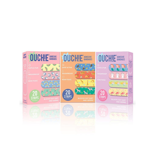 The Nestery : Ouchie By Aya Papaya - Non-Toxic Printed Bandages Triple Combo 60 Pack (Pink, Orange, Lavender)