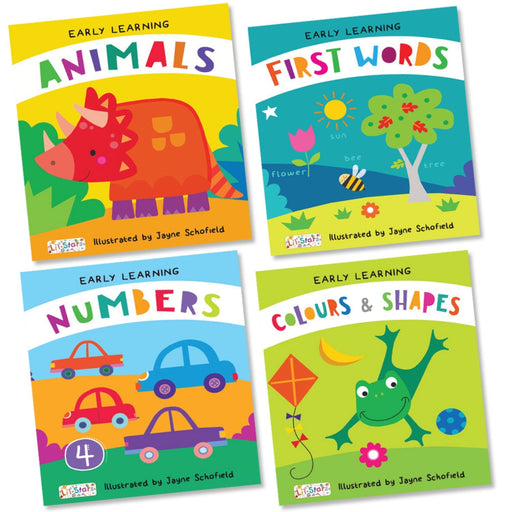 The Nestery : Pegasus - Set Of 4 Padded Early Learning Board Books - Animals, Colours & Shapes, First Words, And Numbers