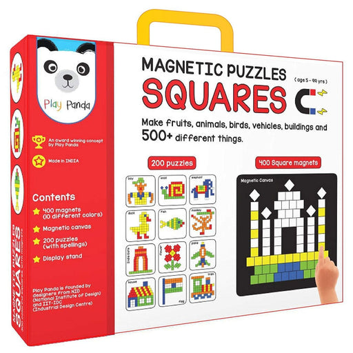 The Nestery : Play Panda - Magnetic Puzzles Squares - 400 Colorful Magnets, 200 Puzzles