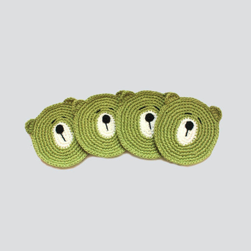 The Nestery: Plumtales - Handmade Amigurumi - Bear Coasters - Olive Green (Set Of 4)