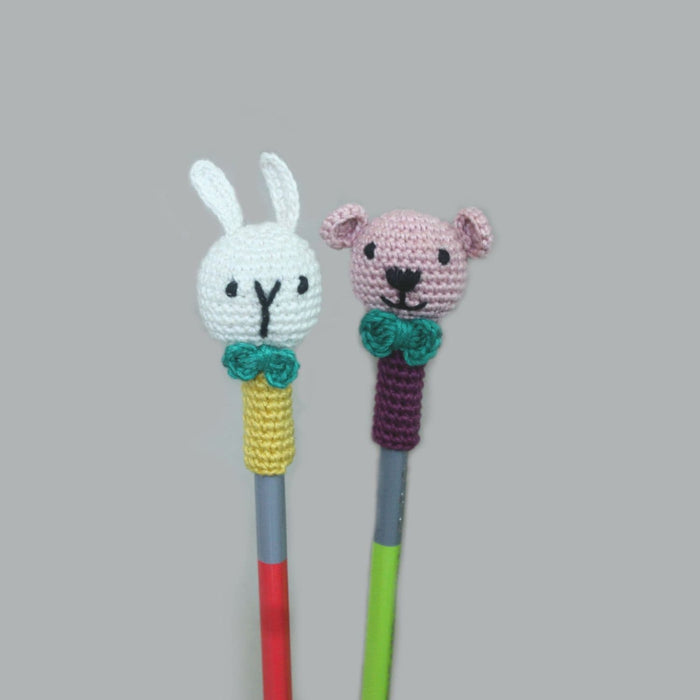 The Nestery: Plumtales - Handmade Amigurumi - Colours Pencil Topper - 2 Bunny + 2 Bear Combo - Assorted Colours