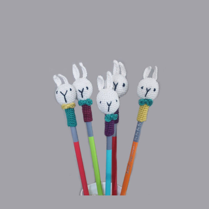 The Nestery: Plumtales - Handmade Amigurumi - Pencil Topper Bunny - Assorted Colours (Set Of 3)