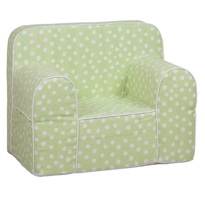 The Nestery : Role Play - Kids Sofa - Green Base White Dot