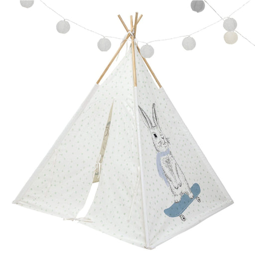 The Nestery : Role Play - Teepee Tent - Rabbit And Powder Blue Dots