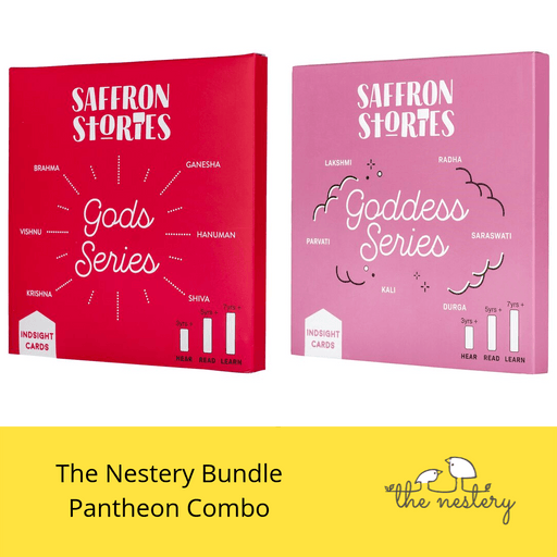 The Nestery: Saffron Stories - INDSIGHT CARDS - PANTHEON COMBO - Early learning flashcards