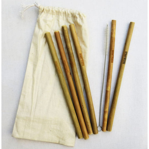 The Nestery : Scrapshala - Set Of 6 Bamboo Straws+Straw Cleaner