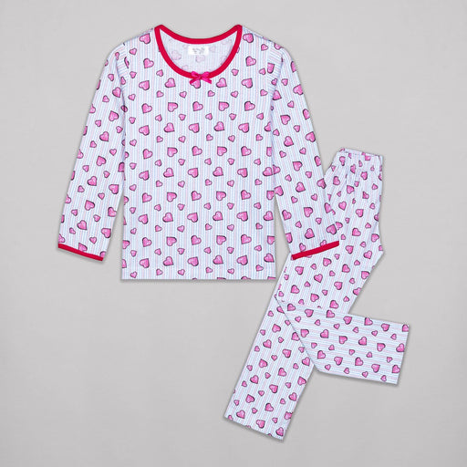 The Nestery : Sheer Love - Hearts Printed Full Sleeves - Full Pyjamas Set