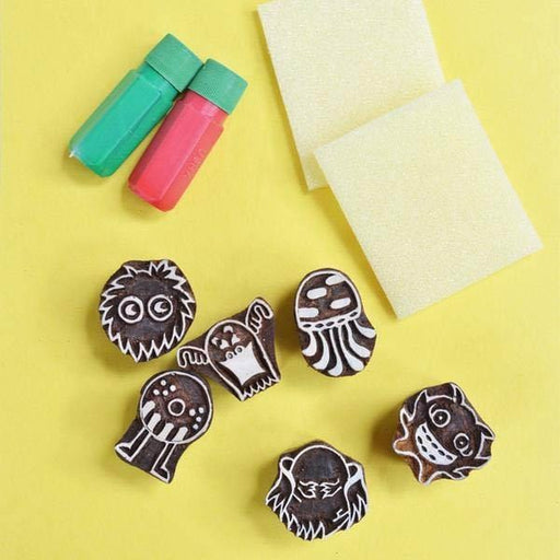 The Nestery: Shumee - MONSTER FUN WOODEN STAMPS SET