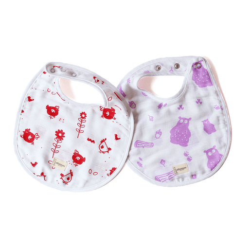 The Nestery: Shumee - ORGANIC MUSLIN BIBS- HEN AND BEAR