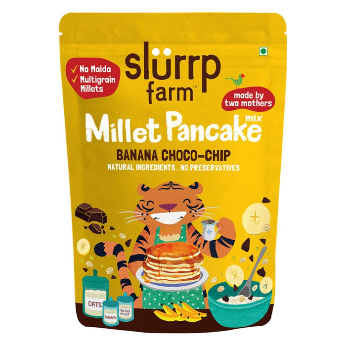 The Nestery: Slurrp Farm - Instant Millet Pancake Mix - Instant Millet Pancake Mix - Banana Choco-Chip & Supergrains