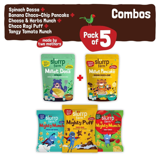 The Nestery: Slurrp Farm - Breakfast Combo Pack - Spinach Dosa Mix + Choco-Chip Pancake Mix + Pack Of 3 Puffs