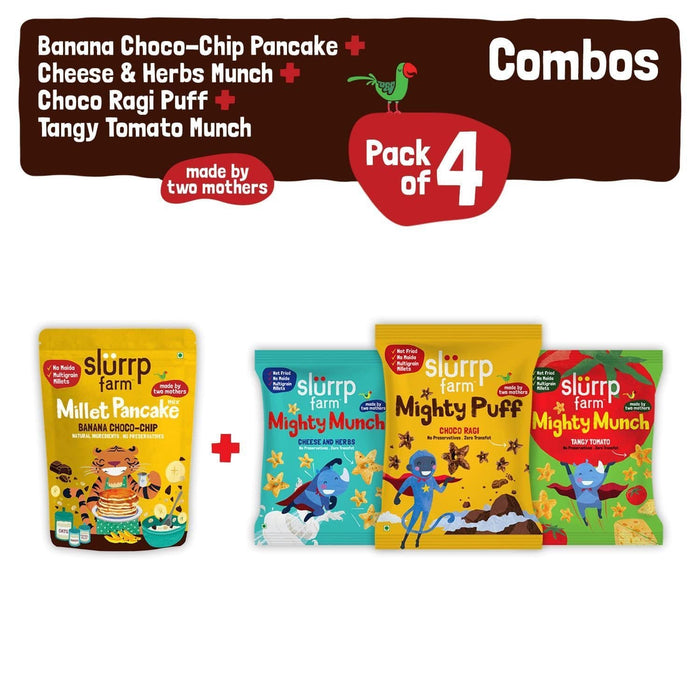 The Nestery: Slurrp Farm - Snacks Combo Pack - Banana Choco-Chip Pancake Mix + Pack Of 3 Non-Fried Puffs