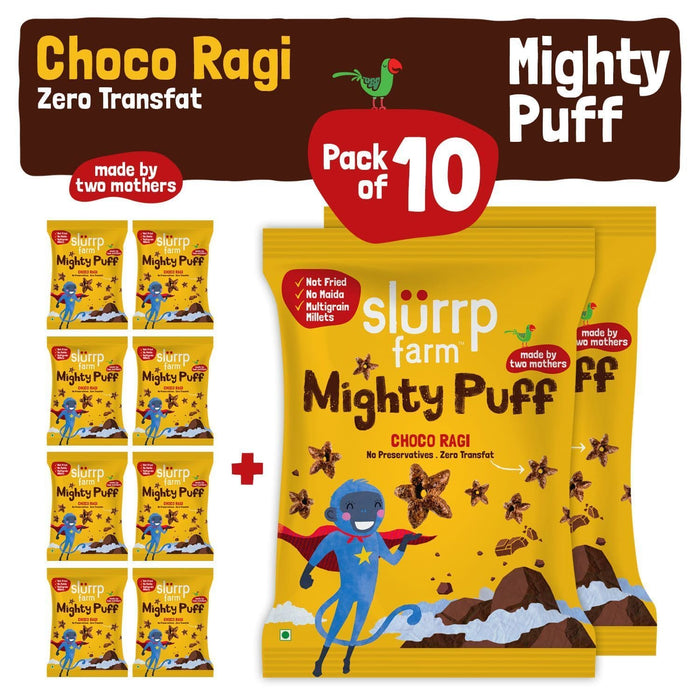 The Nestery: Slurrp Farm - Party Pack - Mighty Puff - Choco Ragi Flavor