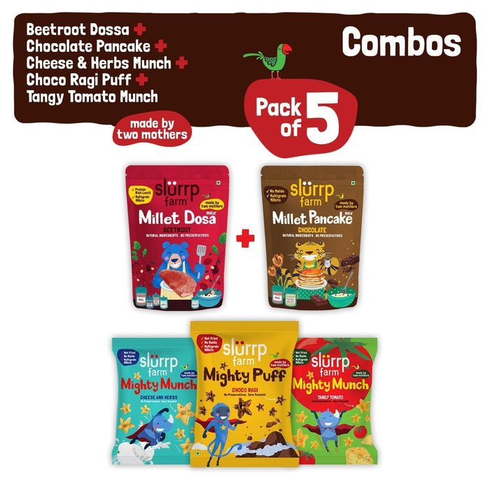 The Nestery: Slurrp Farm - Tiffin Combo Pack - Beetroot Dosa Mix + Chocolate Pancake Mix + Pack Of 3 Non Fried Puffs
