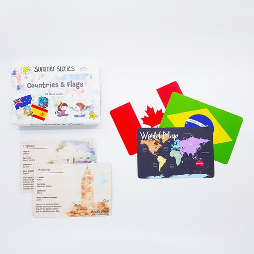The Nestery : Summer Stories - Countries & Flags Flash Cards