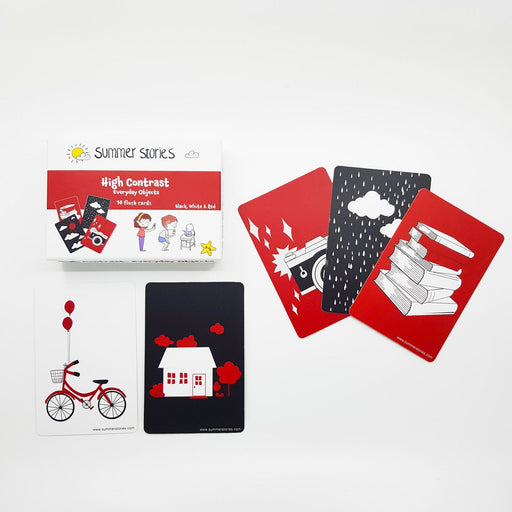 The Nestery : Summer Stories - Newborn High Contrast Flash Cards - Red, Black & White