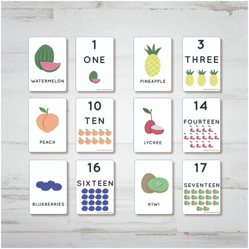 The Nestery : Summer Stories - Numbers And Fruits Flash Cards