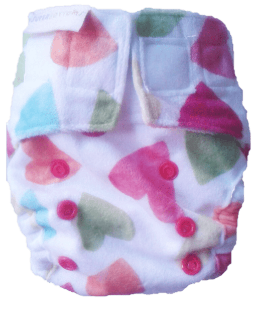 The Nestery: Supperbottoms - SUPERSOFT NEWBORN COVER DIAPER (VELCRO CLOSURE) WITH 1 DRY-FEEL SOAKER - BABY HEARTS
