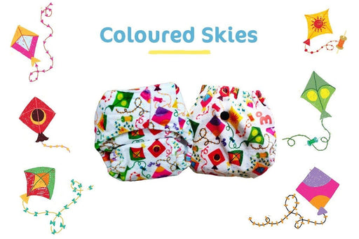 The Nestery: Supperbottoms - SUPERSOFT NEWBORN COVER DIAPER (VELCRO CLOSURE) WITH 1 DRY-FEEL SOAKER - COLOURED SKIES