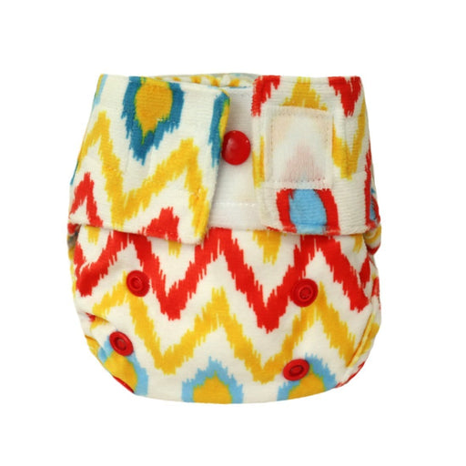 The Nestery: Supperbottoms - SUPERSOFT NEWBORN COVER DIAPER (VELCRO CLOSURE) WITH 1 DRY-FEEL SOAKER - IKAT CHEVRON