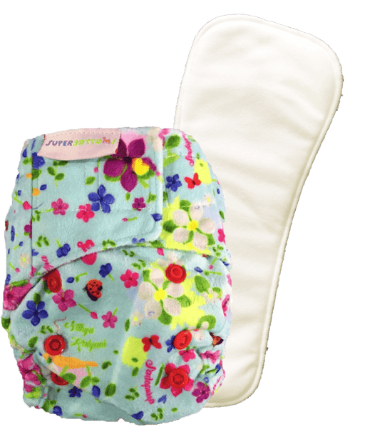 The Nestery: Supperbottoms - SUPERSOFT NEWBORN COVER DIAPER (VELCRO CLOSURE) WITH 1 DRY-FEEL SOAKER - PERIWINKLE
