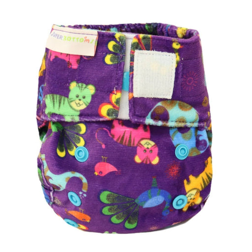 The Nestery: Supperbottoms - SUPERSOFT NEWBORN COVER DIAPER (VELCRO CLOSURE) WITH 1 DRY-FEEL SOAKER - PURPLE LOVE