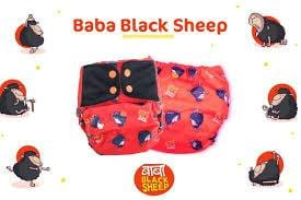 "The Nestery: Supperbottoms - SUPERSOFT COVER DIAPER ""EASY TABS"" WITH 1 DRY-FEEL SOAKER - BABA BLACK SHEEP"