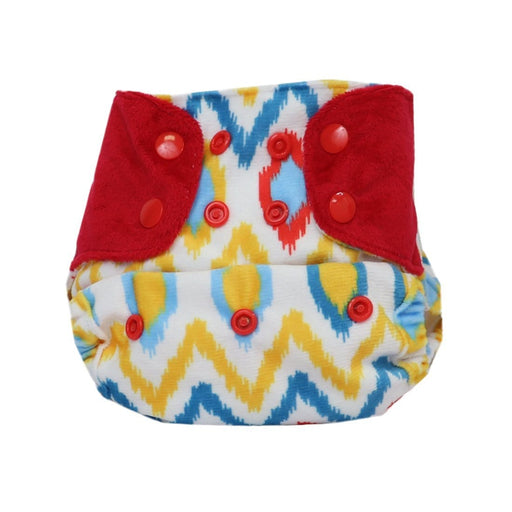 "The Nestery: Supperbottoms - SUPERSOFT COVER DIAPER ""EASY TABS"" WITH 1 DRY-FEEL SOAKER - IKKAT CHEVRON"