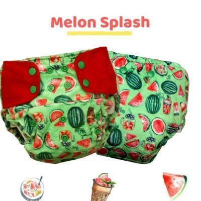 "The Nestery: Supperbottoms - SUPERSOFT COVER DIAPER ""EASY TABS"" WITH 1 DRY-FEEL SOAKER - MELON SPLASH"