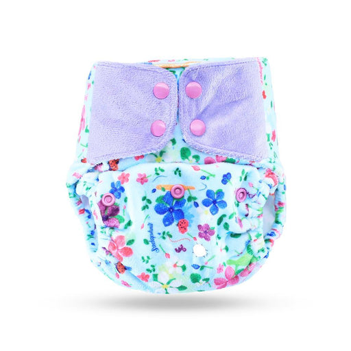 "The Nestery: Supperbottoms - SUPERSOFT COVER DIAPER ""EASY TABS"" WITH 1 DRY-FEEL SOAKER - PERIWINKLE"