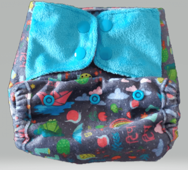 "The Nestery: Supperbottoms - SUPERSOFT COVER DIAPER ""EASY TABS"" WITH 1 DRY-FEEL SOAKER - RIMZIM"