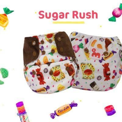 "The Nestery: Supperbottoms - SUPERSOFT COVER DIAPER ""EASY TABS"" WITH 1 DRY-FEEL SOAKER - SUGAR RUSH"