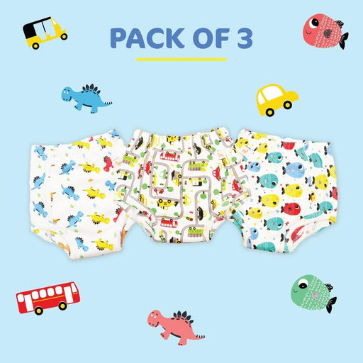 The Nestery: Superbottoms - Pack Of 3 - Pull Up Pant Style Padded Underwears For Babies