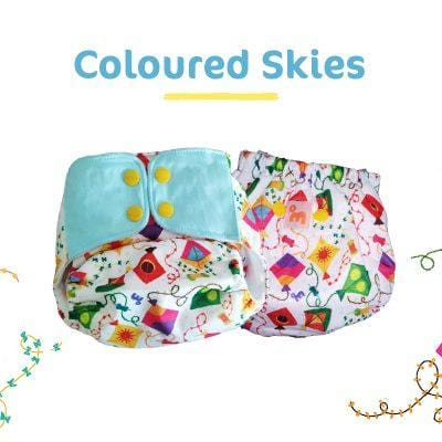 The Nestery: Supperbottoms - UNO ALL-IN-ONE REUSABLE CLOTH DIAPER WITH 2 ORGANIC COTTON DRY-FEEL SOAKERS [DAY & NIGHT USE] - COLOURED SKIES