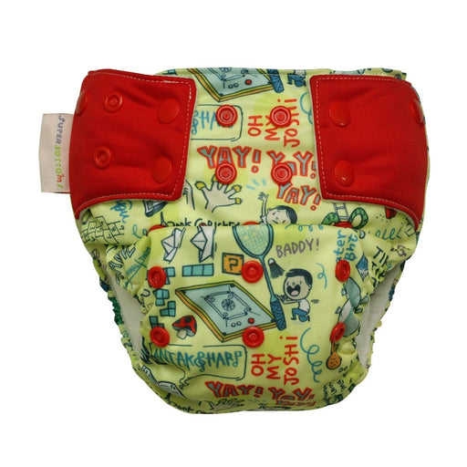 The Nestery: Supperbottoms - UNO ALL-IN-ONE REUSABLE CLOTH DIAPER WITH 2 ORGANIC COTTON DRY-FEEL SOAKERS [DAY & NIGHT USE] - DOODLE LOVE
