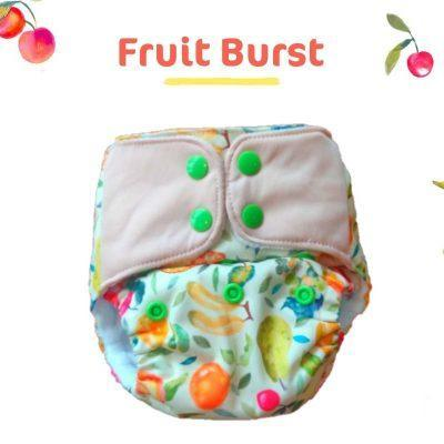 The Nestery: Supperbottoms - UNO ALL-IN-ONE REUSABLE CLOTH DIAPER WITH 2 ORGANIC COTTON DRY-FEEL SOAKERS [DAY & NIGHT USE] - FRUIT BURST