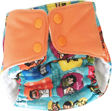 The Nestery: Supperbottoms - UNO ALL-IN-ONE REUSABLE CLOTH DIAPER WITH 2 ORGANIC COTTON DRY-FEEL SOAKERS [DAY & NIGHT USE] - GREAT INDIAN FAMILY