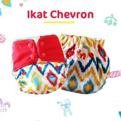 The Nestery: Supperbottoms - UNO ALL-IN-ONE REUSABLE CLOTH DIAPER WITH 2 ORGANIC COTTON DRY-FEEL SOAKERS [DAY & NIGHT USE] - IKAT CHEVRON