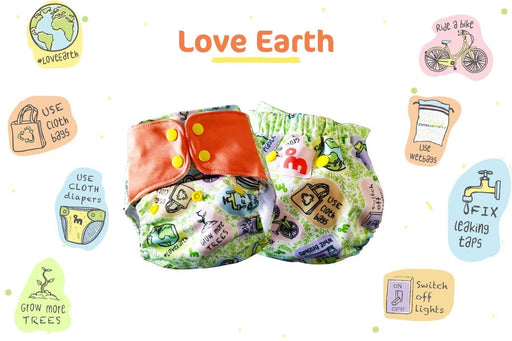 The Nestery: Supperbottoms - UNO ALL-IN-ONE REUSABLE CLOTH DIAPER WITH 2 ORGANIC COTTON DRY-FEEL SOAKERS [DAY & NIGHT USE] - LOVE EARTH