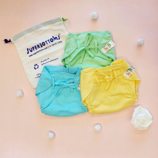 The Nestery: Superbottoms - Nappy With Dry-feel Layer for Babies - Pack Of 6 - Solid