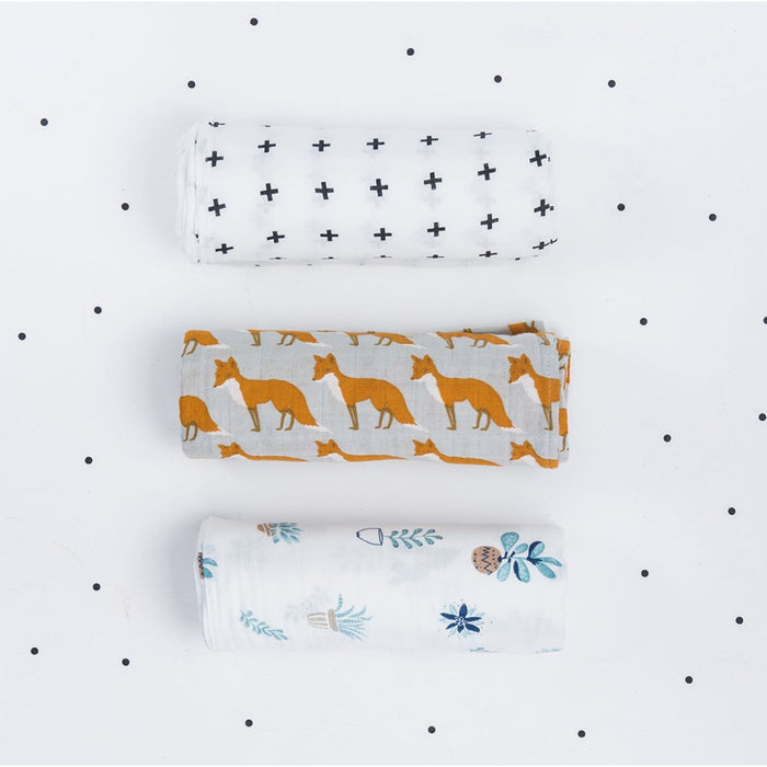 The Nestery : The Clever Fox - Muslin Swaddle - The Crosses