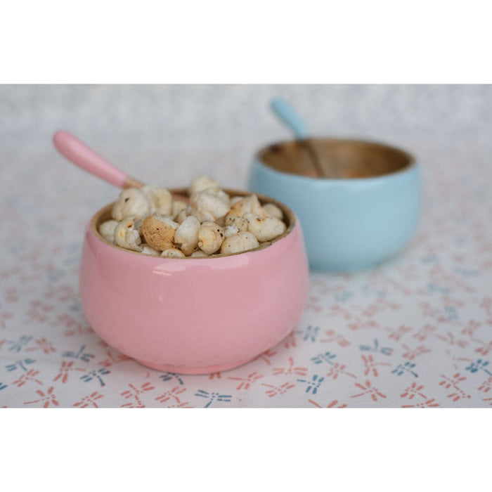 WOODEN BOWL AND SPOON SET - PINK