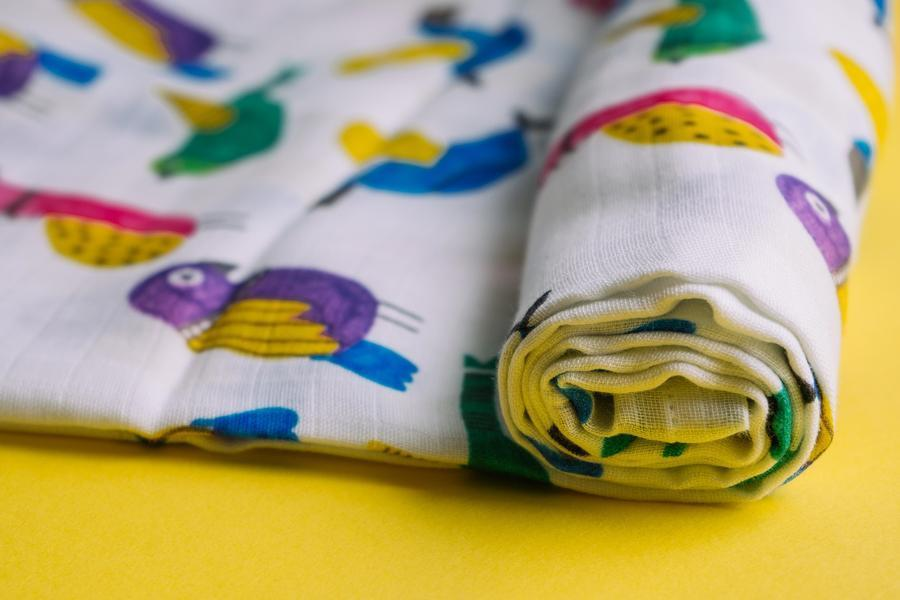 The Nestery : Thä€Lelo - Muslin Set Of 2 Swaddles (Large & Small) - Birds