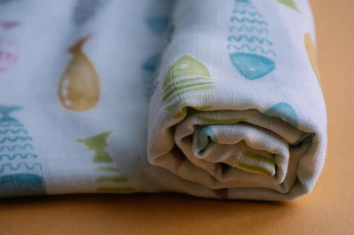 The Nestery: Thalelo - Muslin Swaddles - Set Of 2 (Large & Small) - Fishes